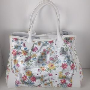 Claudia Firenze Large White Floral Tote Bag